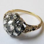 Diamantring 585 Gold mit 9 Rosenschliffdiamanten 1930