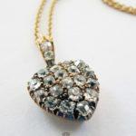 Antike Goldkette 15 K England 1890 Diamant Herz Gelbgold