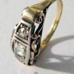 Diamantring 585 Gold mit drei Rosenschliffdiamant Anfang 1900