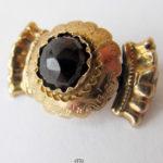 Antike viktorianische Brosche 15 Karat Gelbgold Granat Rosenschliff historisch