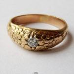 585 Gelbgold Ring Blumen Blüten Altschliff Diamant