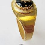 Antiker Armreif 585 Gelbgold Onyx Diamanten Schnappschließe 1900