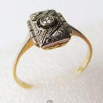 Ring-Gold-585- Geometrische Formen Platin-Diamant