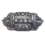 Antike Brosche Art Deco Silber/Gold Altschliff Diamanten