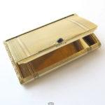 Guilochiertes 585 Gold Etui Saphir Cabochon