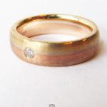 Ring tricolor Gelbgold Weissgold Rosegold 333 mattiert Diamant