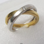 Ring 2 Band fest verschlungen 333 Weissgold Gelbgold Diamant