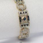 Vintage Armband 585 Gold Diamanten blaue Edelsteine Kreise Dreiecke