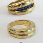 Doppelring 750 Gold mit Mechanik 2 in 1 Ring Diamanten Saphire