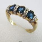 Goldring 585 mit Diamanten und Saphiren