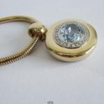 Massive Schlangen Goldkette 585 mit Brillanten und Spinell