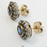 Antike Ohrringe 750 Gold mit Saphir und Diamanten um 1900
