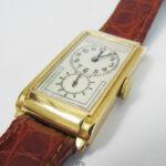 Rolex Prince - Sehr seltene antike Herrenarmbanduhr Rechteckuhr der 30er Jahre mit zweigeteiltem Zifferblatt