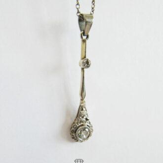 Platin Collier mit platiniertem Diamanten Anhänger Gelbgold Art Deco