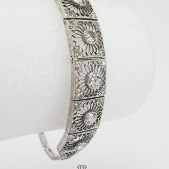 Zartes Art Deco Armband Weißgold 14K mit Diamanten
