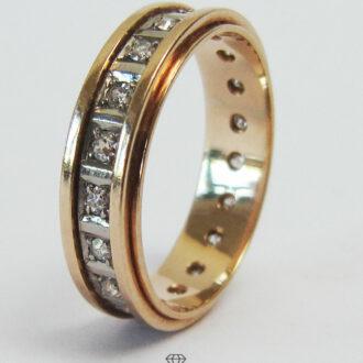 Klassischer Vintage Diamant-Memoirering 14K Rotgold Ringgröße 58,5