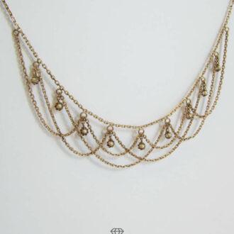 Antikes Gold Collier mit Saatperlen Hals-Gehänge um 1900