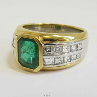 Breiter Ring Bicolor Weißgold-Gelbgold Diamanten-Smaragd Vorsteckring
