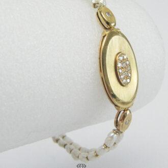 Goldenes Armband für Damen mit Diamanten und Perlen in Biwa-Optik 750 Gold