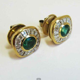 Ohrstecker Ohrringe 750 Gelbgold Smaragd Diamant