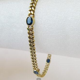Panzer Armband Gold 585 mit blauen Edelsteinen in Saphir Optik
