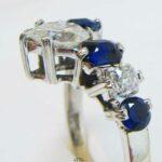 Vintage Damenring mit Saphiren und Diamanten 585 Weißgold