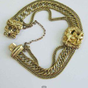 Antikes Viktorianisches Gold Armband aus 3 Ketten mit beweglicher Fassung Jagdhund Jäger Motiv