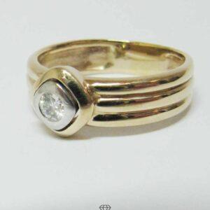 Breiter Solitär Brillant Ring 0,2ct Gelbgold 14Kt