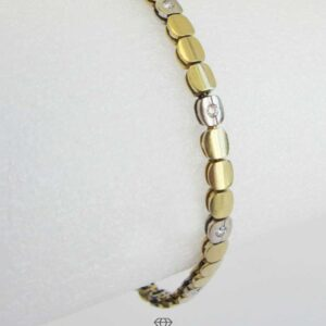 Brillantarmband Gelbgold Weißgold 18kt Bicolorarmband mit Brillanten Gesamtkarat 0,1ct