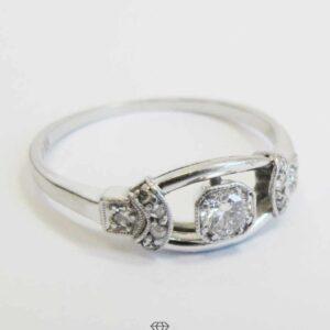 Diamant Ring 14 K Weißgold mit Diamanten zus. 0,28 ct Art-Deco Ring