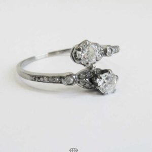 Diamant Ring 14 Kt Weissgold Art Deco Toi et Moi