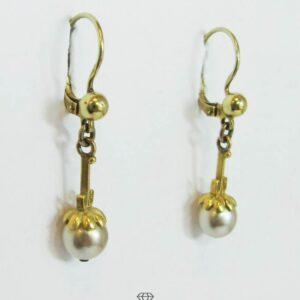 Ohrringe Gelbgold mit Perle Vintage Ohrhänger