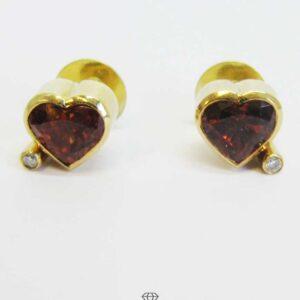Ohrstecker Herz 750 Gelbgold Herzohrstecker mit Brillanten und Feueropal