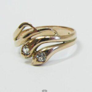 Schlangenring Gold Ring mit zwei Schlangenköpfen und facettiertem Zirkon