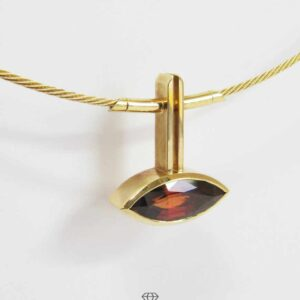 Strumpfkette 750 Gelbgold Halsreif Damen Collier mit Navette Anhänger Feueropal