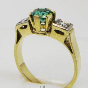 Vintage Goldring 585 mit Diamanten und smaragdgrünem Turmalin