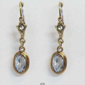 Vintage Ohrringe Rotgold mit blauem Spinell Ohrhänger