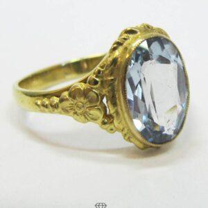 Vintage Ring Gelbgold mit Spinell zartblau oval facettiert im Antik Look