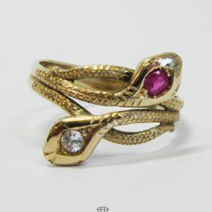 Vintage Ring mit Schlangenköpfen 585 Gelbgold 14 K Schlangenring mit Edelsteinen