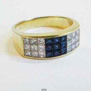 WEMPE breiter 18Kt Gold Bandring mit Diamanten und Saphiren im Princess-Schliff