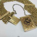 Antikes Gold Armband aus 9 Ketten mit floraler Schmuckschließe Art Deco