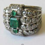 Breiter Luxus Vintage Diamant Ring 1,3ct 18K Weissgold mit Smaragd prachtvolles Design