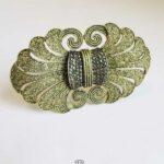 Große Art Deco Brosche Theodor Fahrner aus 925 Silber vergoldet mit Markasiten