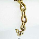 Klassisches Paper-Clip Armband 14K Gelbgold massiv runde Kettenglieder NOS
