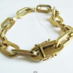 Massives Paper-Clip Armband Gold-Armband große Kettenglieder 585er Gelbgold NOS