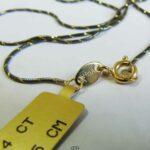 Zarte Schlangenkette 585 Gelbgold diamantiert dünne Halskette 14K anthrazit rutheniert - 45 cm