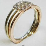 Brillantring Tricolor 14 Karat Rotgold Weißgold Gelbgold Stapelringe Dreifachring Triple Ring